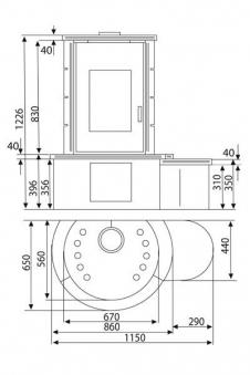Kaminofen Wamsler KF 101 Rona Keramik bordeaux 8 kW Bild 2