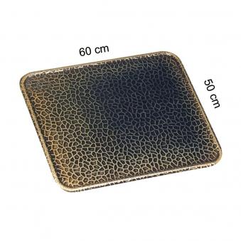 Funkenschutzplatte / Bodenblech KaminoFlam Messing gehämmert 50x60cm Bild 1