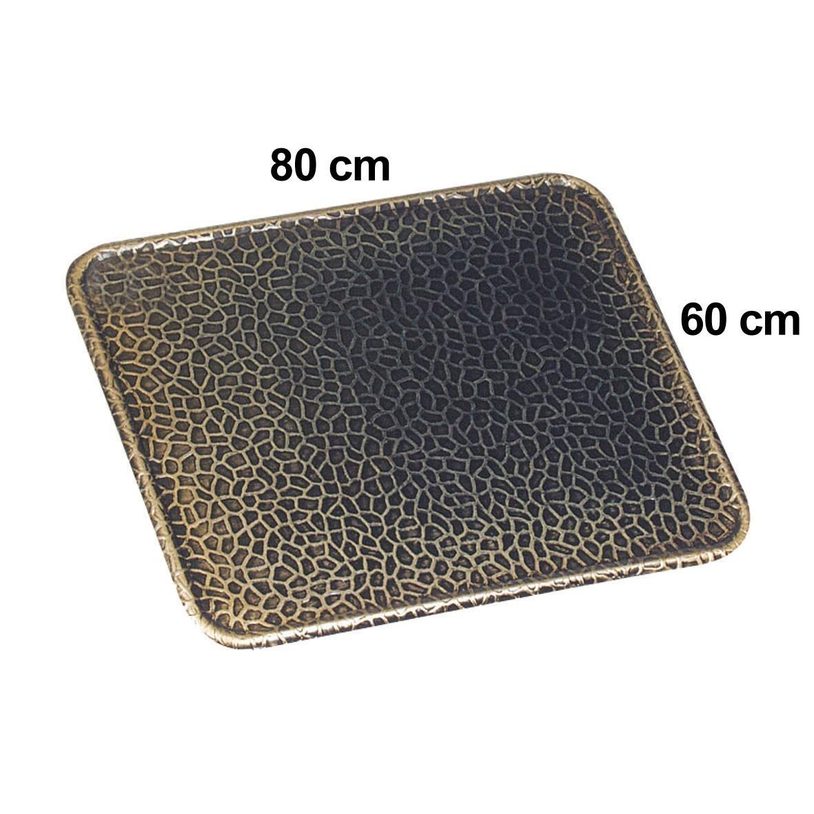 Funkenschutzplatte / Bodenblech KaminoFlam Messing gehämmert 60x80cm Bild 1