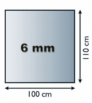 Funkenschutzplatte Glas 6mm Lienbacher 4-Eck ohne Facette 100x110cm Bild 1