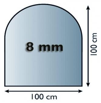 Funkenschutzplatte Glas 8mm Lienbacher Rundbogen 1000x1000mm Bild 1