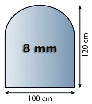 Funkenschutzplatte Glas 8mm Lienbacher Rundbogen 1000x1200mm Bild 1
