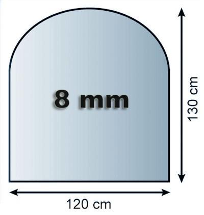 Funkenschutzplatte Glas 8mm Lienbacher Rundbogen 1200x1300mm Bild 1