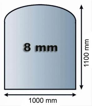 Funkenschutzplatte Glas 8mm Lienbacher Segmentbogen 1000x1100mm Bild 1