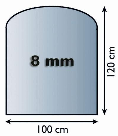 Funkenschutzplatte Glas 8mm Lienbacher Segmentbogen 1000x1200mm Bild 1