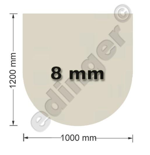 Funkenschutzplatte Glas 8mm Lienbacher halbrund Sandstein 1000x1200mm Bild 1