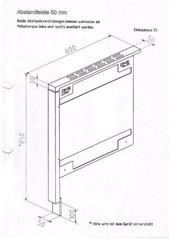 Abstandsverbindung für Haas+Sohn Holzherd HSD 40.5 weiß/Edelst. 55mm Bild 2