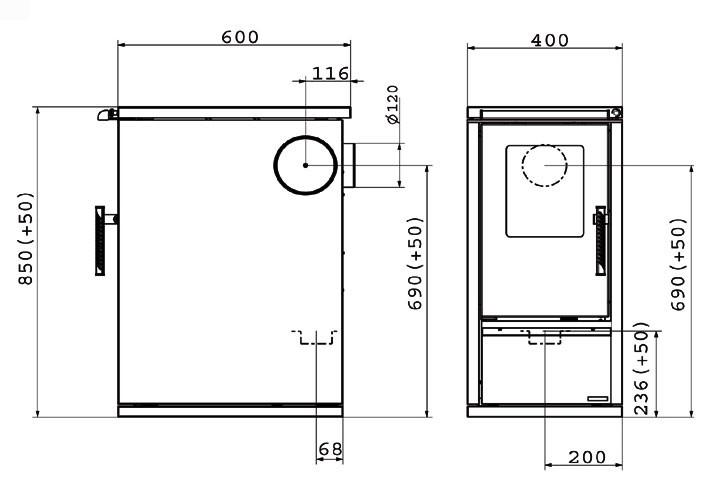 Küchenherd / Kohleherd Wamsler W1-40 weiß Cerankochfeld Bild 2