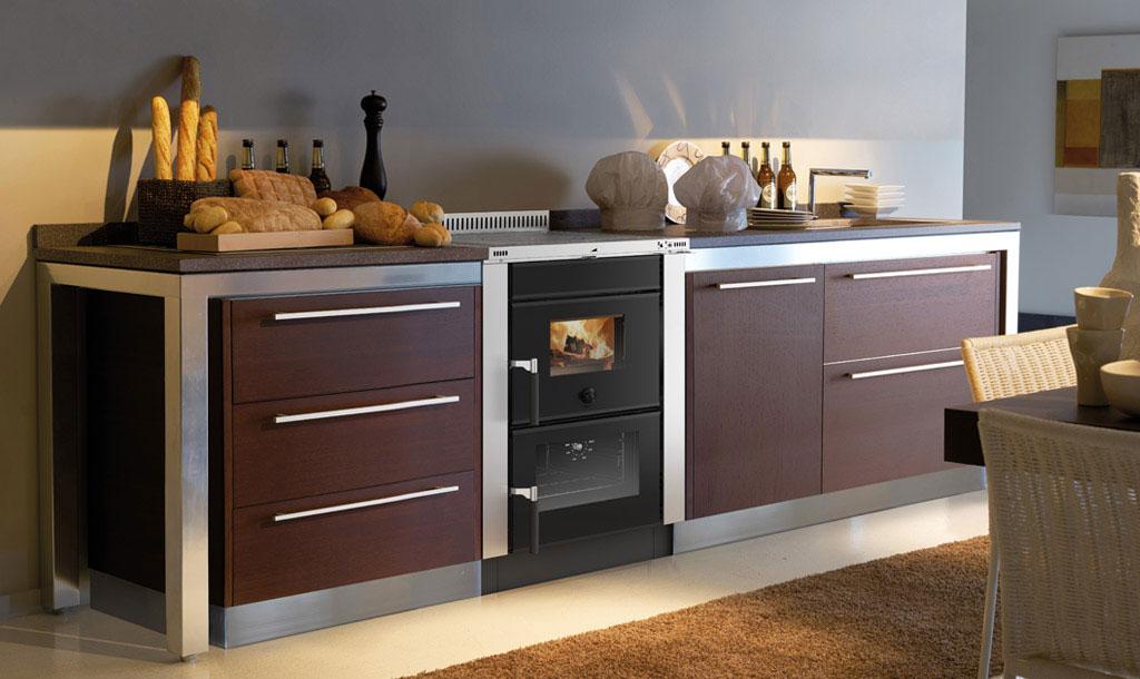 Küchenherd / Holzherd La Nordica Vicenza Evo anthrazit Ans Mitte 6kW Bild 2