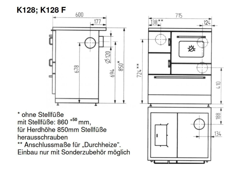 Küchenherd / Kohleherd Wamsler K128 F kaschmir Stahl Anschluss ...