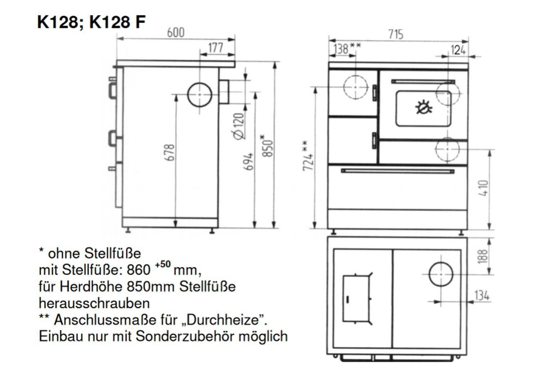 Küchenherd / Kohleherd Wamsler K128 F weiß Ceran Anschluss links ...