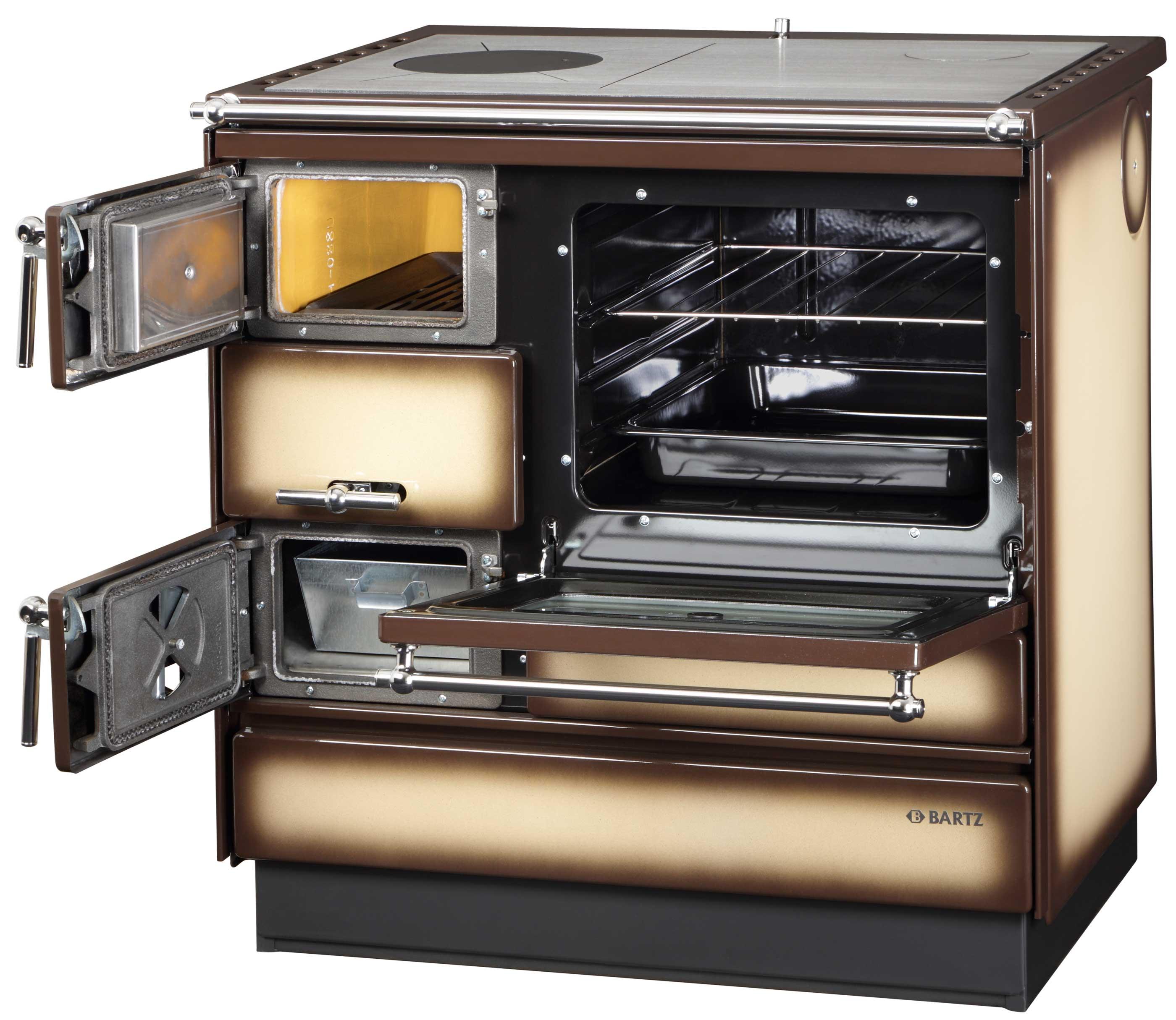 Küchenherd Holzherd Bartz HKK 80/60 Stahlplatte bordeaux Ans.links Bild 2