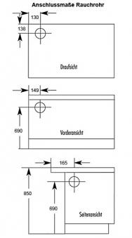 Küchenherd / Kohleherd Wamsler K170K weiß Stahlkochfeld Anschluß links Bild 2