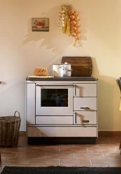 Küchenherd Holzherd Bartz HKK 92/60 Stahlplatte weiß Ans. links Bild 1