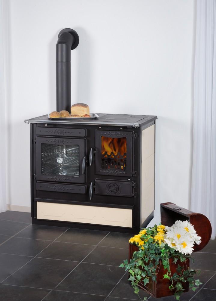 Küchenherd / Kohleherd / Holzküchenherd Globe-fire Alhena creme links Bild 1