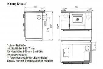 Küchenherd / Kohleherd Wamsler K138F kaschmir Ceran Anschluss links Bild 2