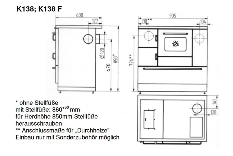 Küchenherd / Kohleherd Wamsler K138F weiß Ceran Anschluss links ...