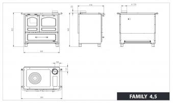 Küchenherd / Holzherd La Nordica Family 4,5 cappuccino Ans. re 7,5kW Bild 3