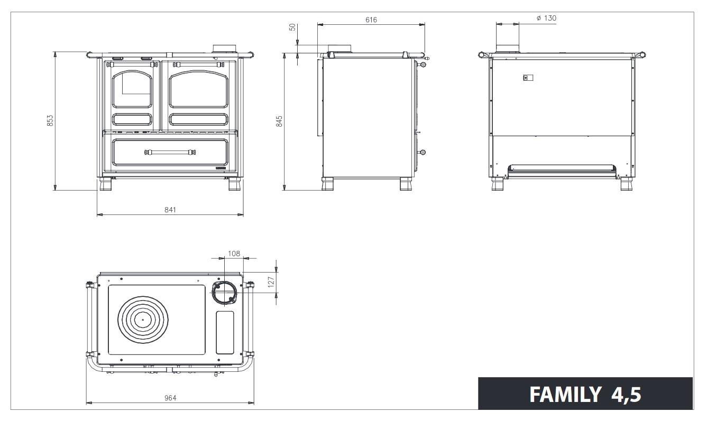 Küchenherd / Holzherd La Nordica Family 4,5 schwarz Ans. re 7,5kW Bild 4