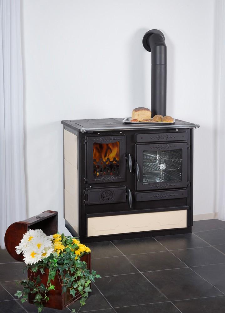 Küchenherd / Kohleherd / Holzküchenherd Globe-fire Alhena creme rechts Bild 1