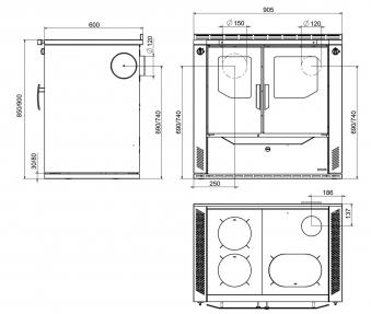 Küchenherd / Kohleherd Wamsler W2-90 anthr.Stahl Ans. rechts Tür schw. Bild 2