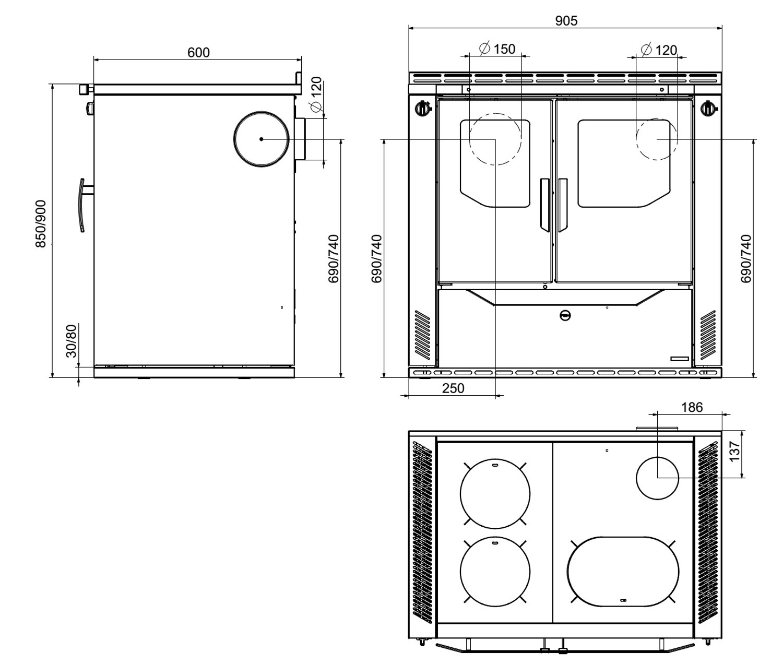 Küchenherd / Kohleherd Wamsler W2-90 kiesel Stahl Ans.rechts Tür schw. Bild 2