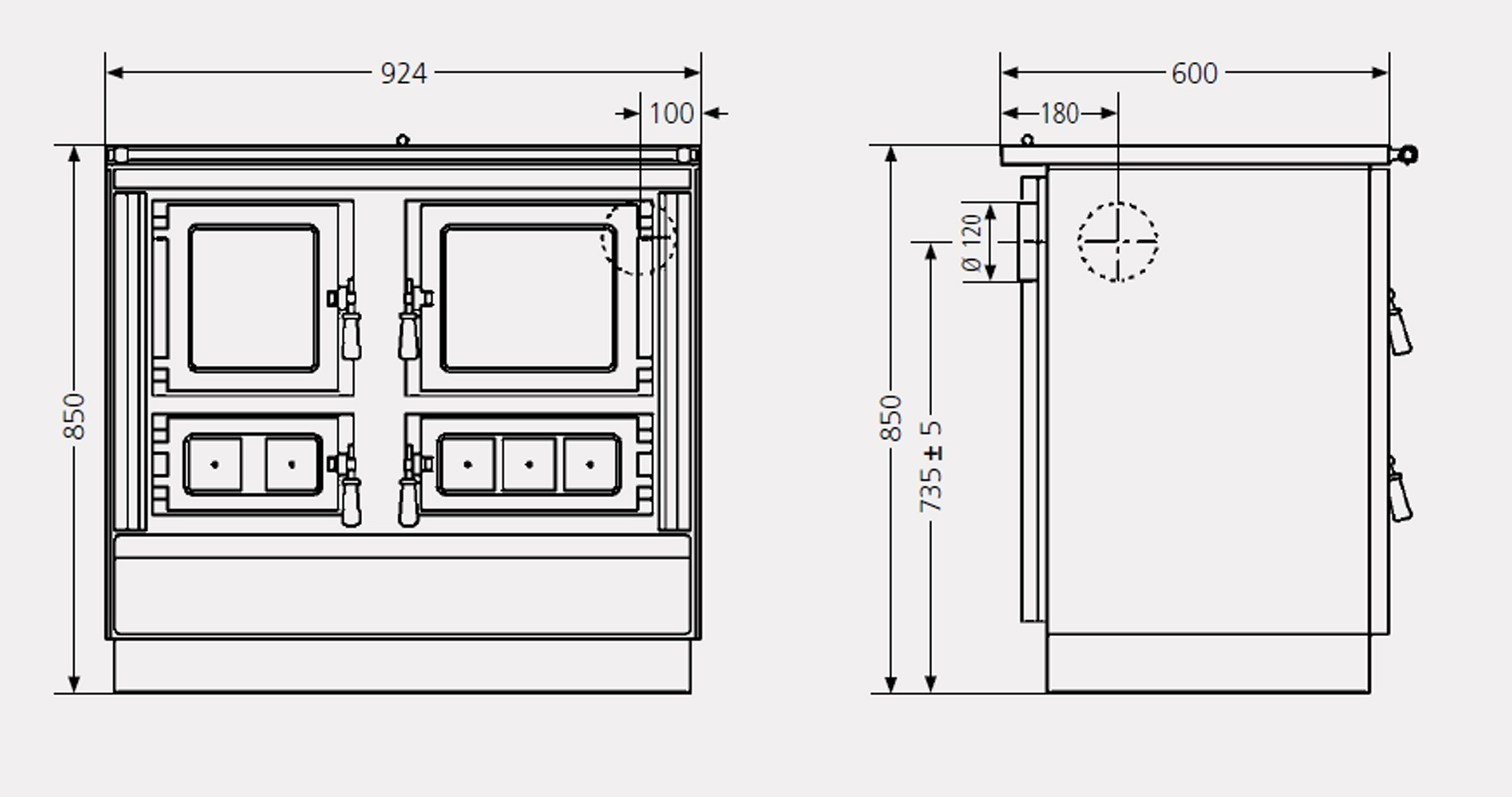 k chenherd holzherd linz rustico 90 creme anschluss links bei. Black Bedroom Furniture Sets. Home Design Ideas
