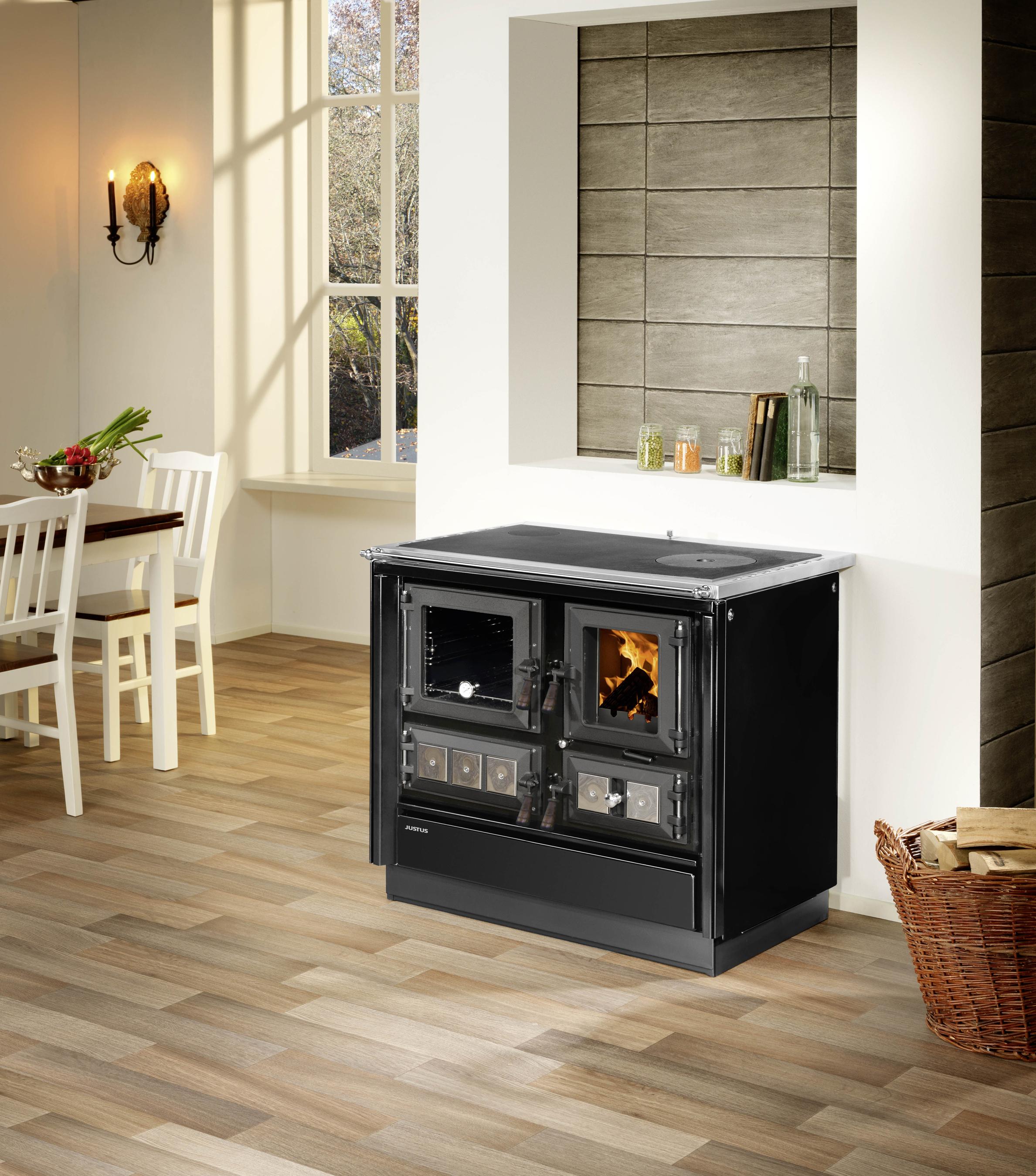 Küchenherd Justus Festbrennstoffherd Rustico-90 2.0 li Stahl  schwarz Bild 2
