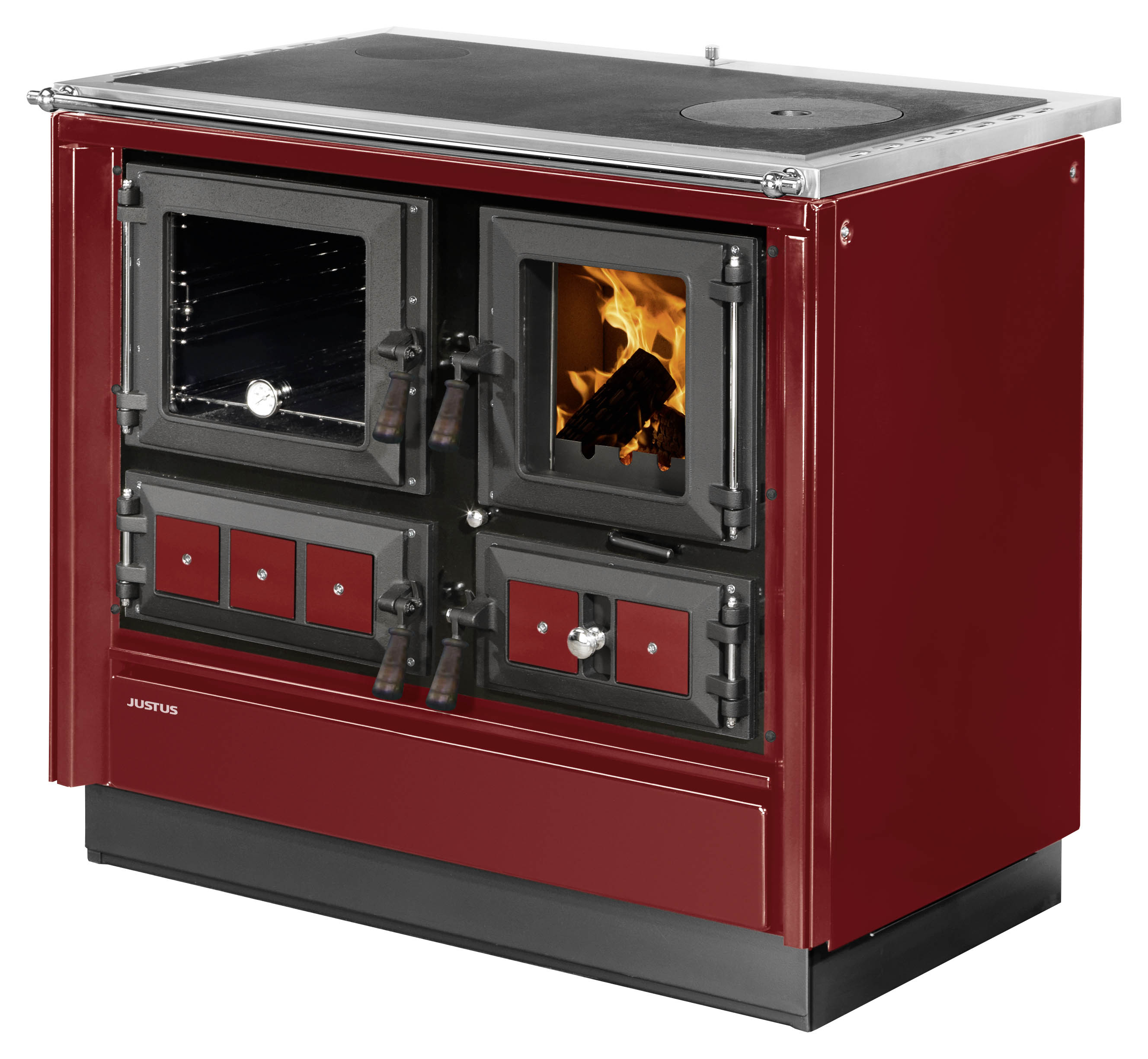 Küchenherd Justus Festbrennstoffherd Rustico-90 2.0 links Stahl rot Bild 1