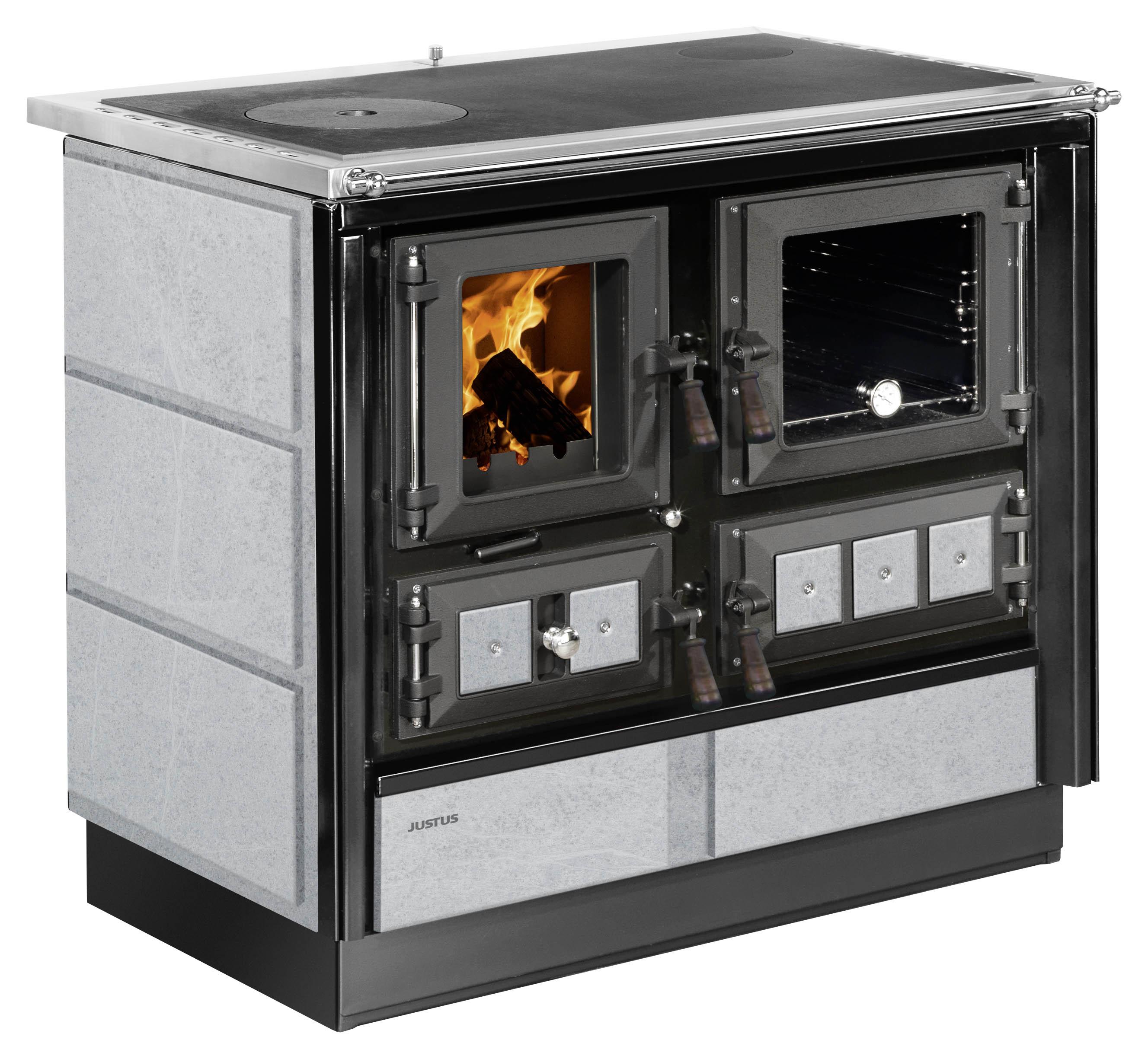 Küchenherd Justus Festbrennstoffherd Rustico-90 2.0 re Stahl  Speckst Bild 1