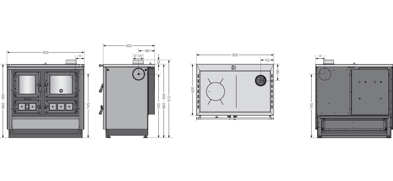 Küchenherd Justus Festbrennstoffherd Rustico-90 2.0 re Stahl  Speckst Bild 4