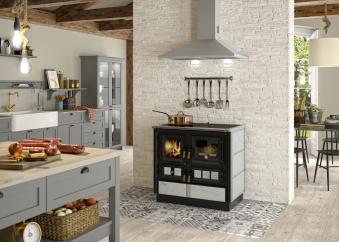 Küchenherd Justus Festbrennstoffherd Rustico-90 2.0 re Stahl  Speckst Bild 2