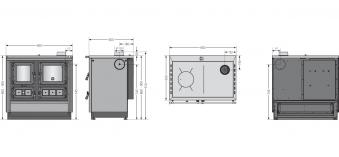 Küchenherd Justus Festbrennstoffherd Rustico-90 2.0 rechts Stahl rot Bild 3