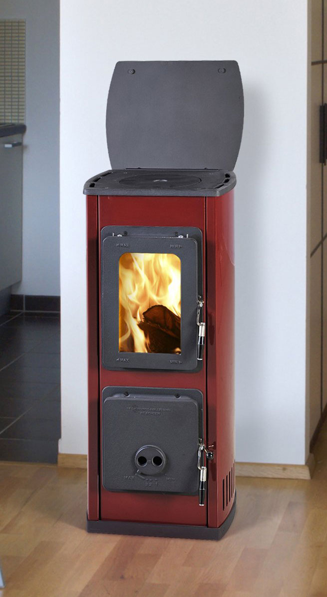 kaminofen werkstattofen thorma milano ii stahl rot. Black Bedroom Furniture Sets. Home Design Ideas
