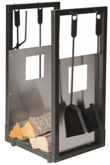 Kaminbesteck / Holzablage Lienbacher schwarz / Edelstahl 4-teilig 70cm Bild 1