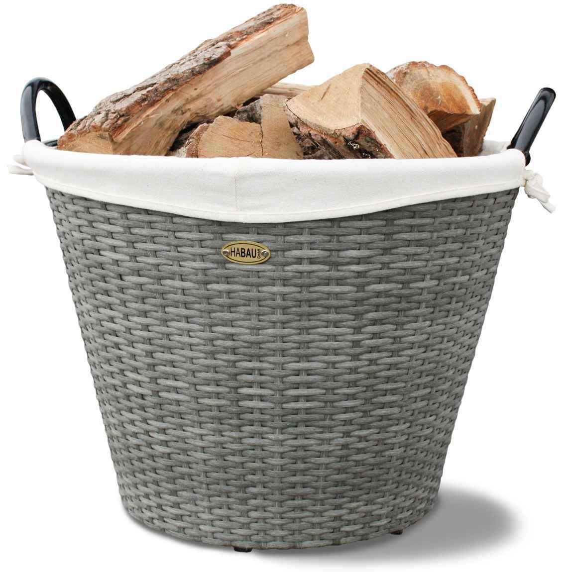 Feuerholzkorb / Kaminholzkorb Habau aus Polyethylen Ø54xH44cm Bild 1
