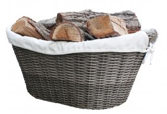 Holzkorb Habau aus Polyethylen mit Metallrahmen 45x30x20cm Bild 1