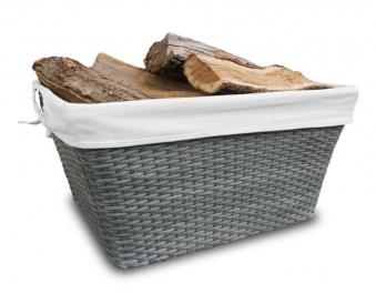 Holzkorb Habau eckig aus Poyethylen mit Metallrahmen 58x42x32cm Bild 2