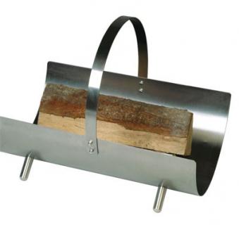 Holzkorb - Holzlege Lienbacher Edelstahlfarben 47x35x36cm Tragegriff Bild 1