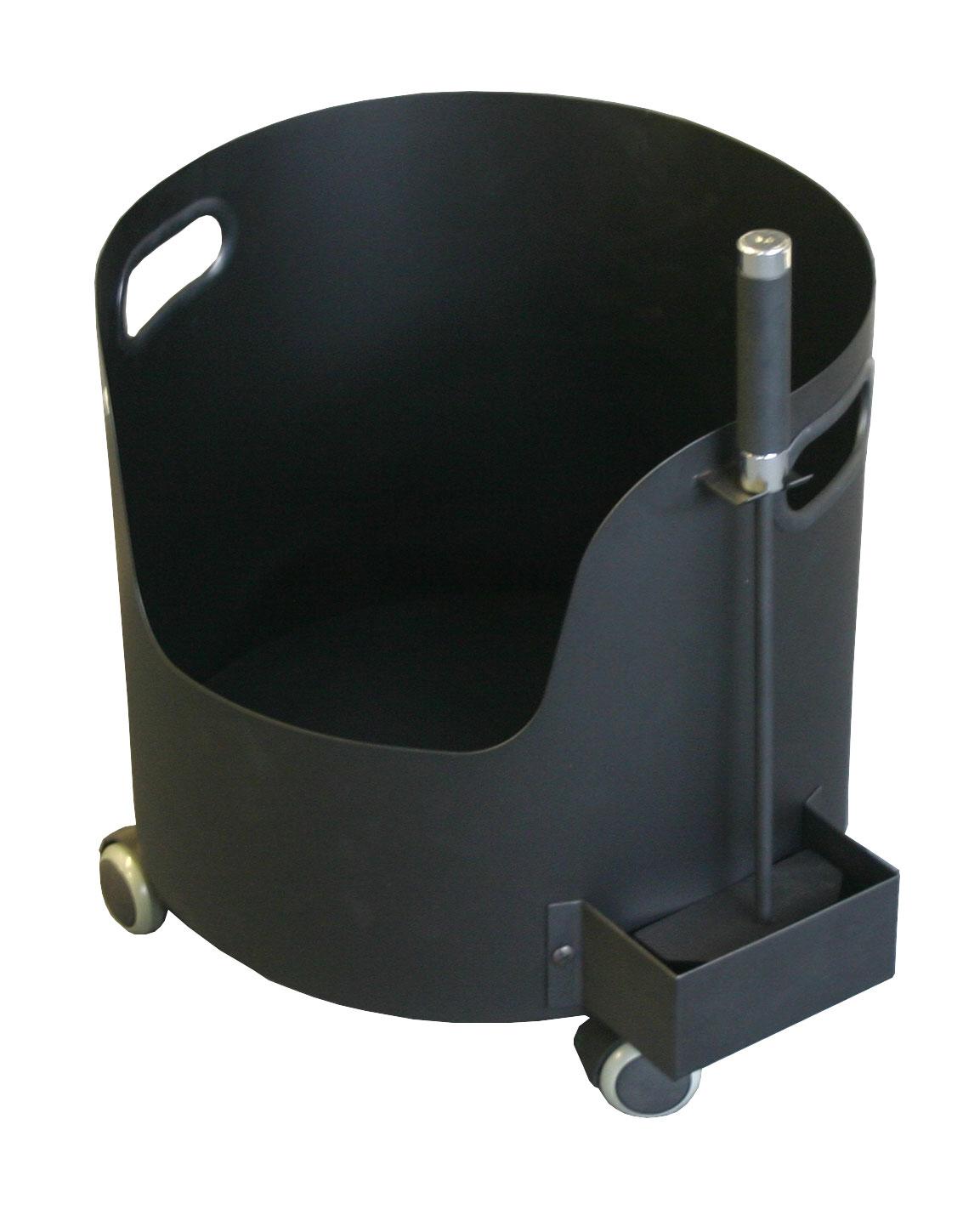 Holzkorb / Holzwagen Süd-Metall auf Rollen mit Schürhaken Ø 37cm Bild 1