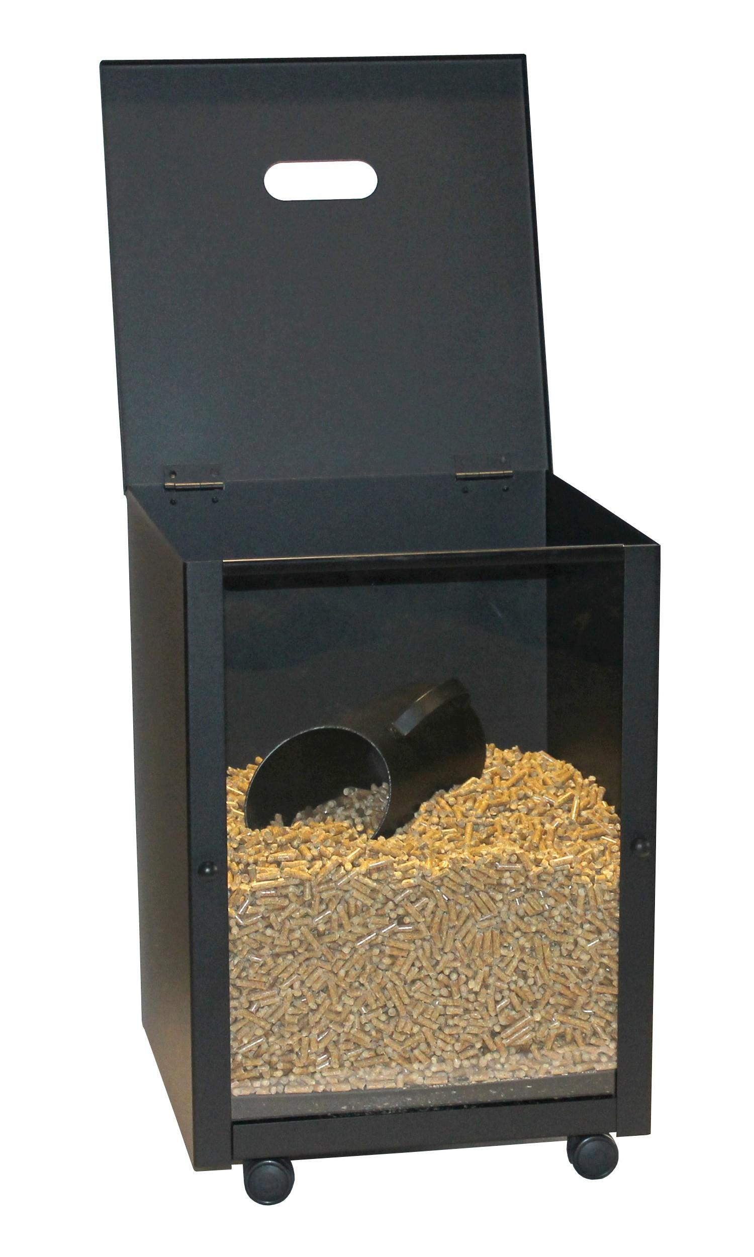 Pelletbehälter mit Deckel Lienbacher schwarz 39x39x52cm Bild 1