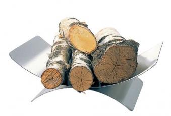 Holzkorb / Holzlege Lienbacher Edelstahl 16x45x30cm