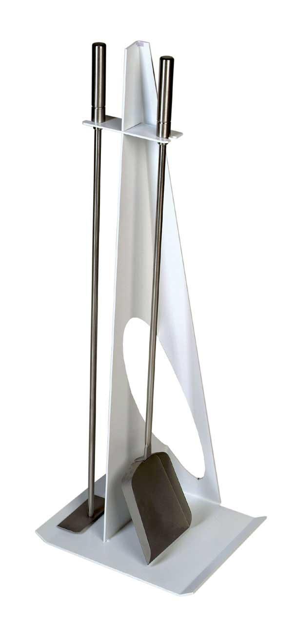 Kaminbesteck / Kamingarnitur Lienbacher weiß / Edelstahl 2-teilig 79cm Bild 1