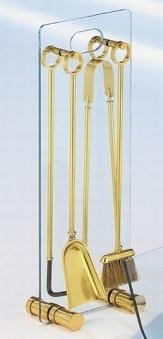 Kaminbesteck / Kamingarnitur Lienbacher Messing Glas 4teilig Bild 1