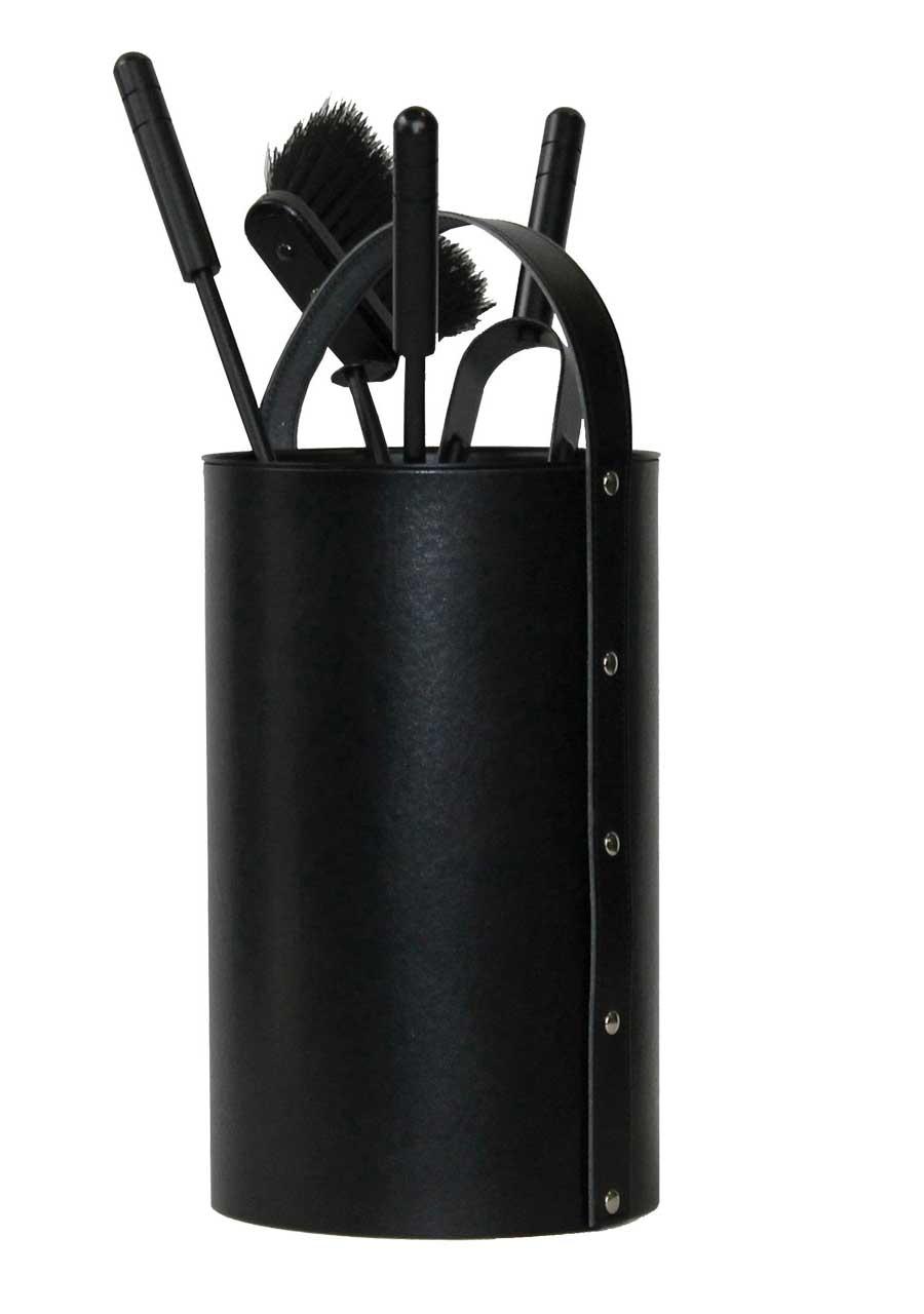 kaminbesteck kamingarnitur lienbacher leder schwarz 4 teilig h 60cm bei. Black Bedroom Furniture Sets. Home Design Ideas