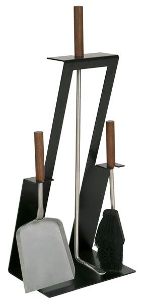 Kaminbesteck / Kamingarnitur Lienbacher schwarz Nuss 3tlg eckig 61cm Bild 1