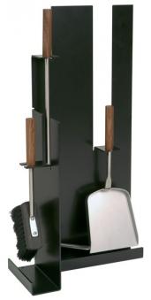 Kaminbesteck / Kamingarnitur Lienbacher schwarz Nussholz 3tlg H 61cm Bild 1