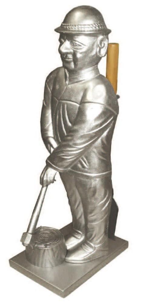 Kaminbesteck Kamingarnitur Lienbacher Holzfäller Silber/Guss 3tlg 73cm Bild 1