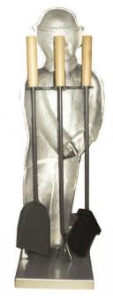 Kaminbesteck Kamingarnitur Lienbacher Holzfäller Silber/Guss 3tlg 73cm Bild 2
