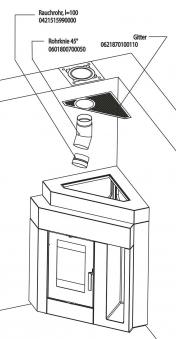 Rauchrohranschluss Set oben Haas+Sohn Pinus-II Eck